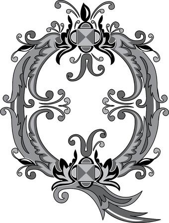 alphabet lettre: Alphabet feuillage anglais, lettre Q, noir et blanc Illustration