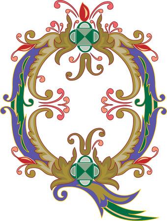e pretty: Foliage English alphabet, letter Q, Colored