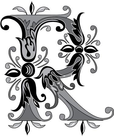 Feuillage alphabet anglais, la lettre R, Noir et blanc