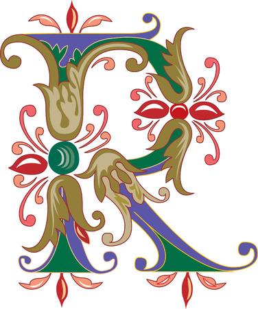 colori: Fogliame alfabeto inglese, la lettera R, a colori Vettoriali