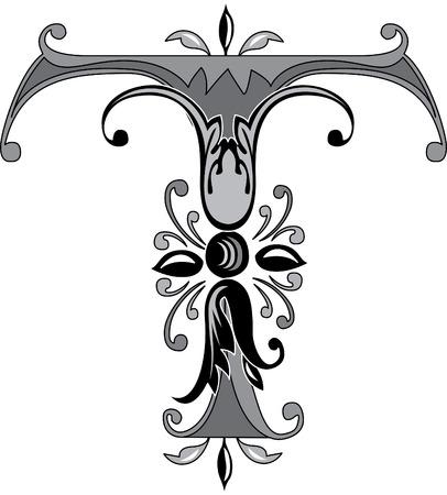 alphabet lettre: Alphabet feuillage anglais, la lettre T, noir et blanc Illustration
