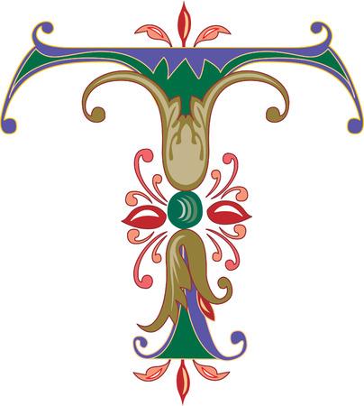 alphabet lettre: Alphabet feuillage anglais, la lettre T, color�