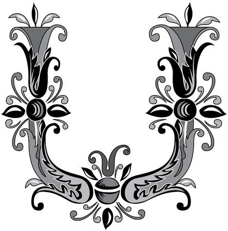 Foliage English alphabet, letter U, Black and White Vector