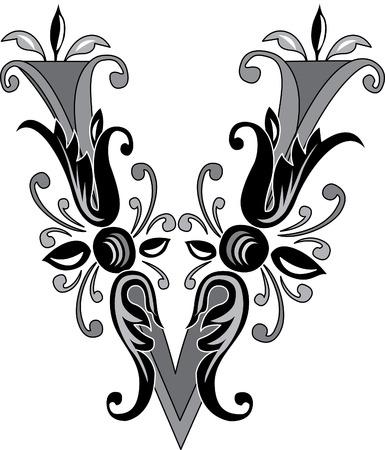 feuillage: Feuillage alphabet anglais, la lettre V, Noir et blanc Illustration