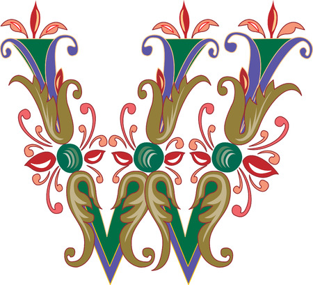 Foliage English alphabet, letter W, Colored