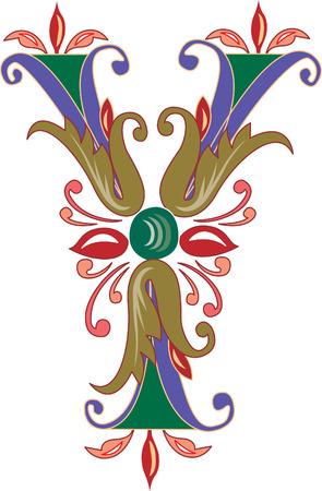 Foliage English alphabet, letter Y, Colored