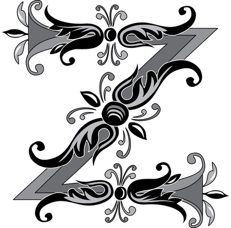 letter z: Foliage English alphabet, letter Z, Black and White