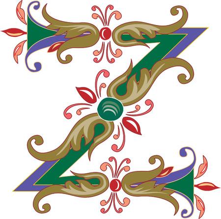 letter z: Foliage English alphabet, letter Z, Colored