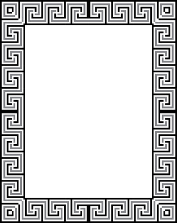 Tiled simple outlines, vector frame, Grayscale Vector