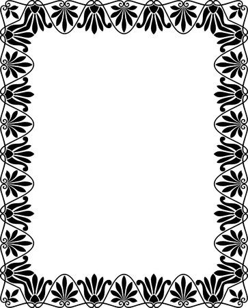 utsirad: Klinker utsmyckade vektor ram, svartvitt Illustration