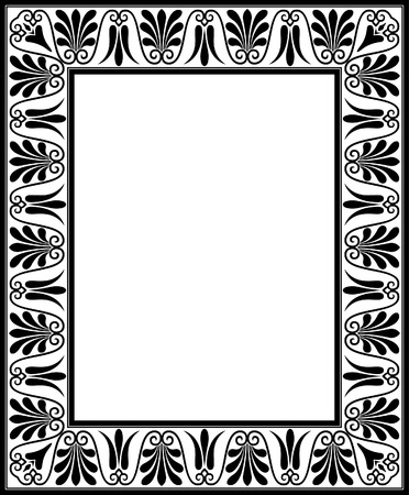 Tiled ornate vector frame, Black and White Vector
