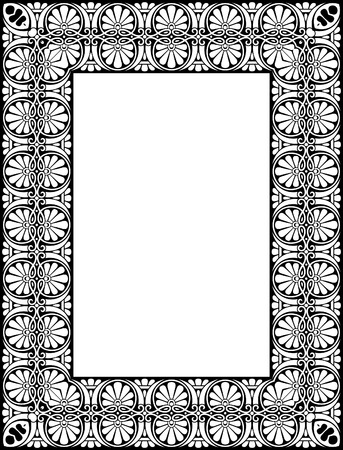 thick: Tiled ornate thick frame, Black and White