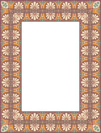Tiled ornate thick frame, Colored Vector