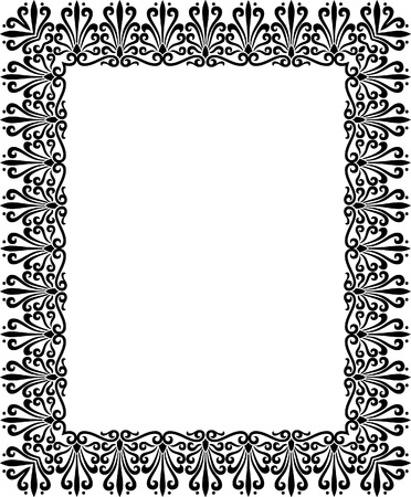 Tiled ornate vector frame, Black and White Vector