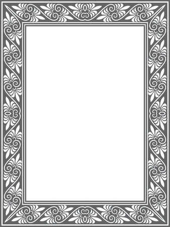 Tiled ornate vector frame, Grayscale Vector