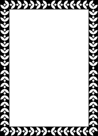 Tiled vector frame in plant leaves, Black and White Vector