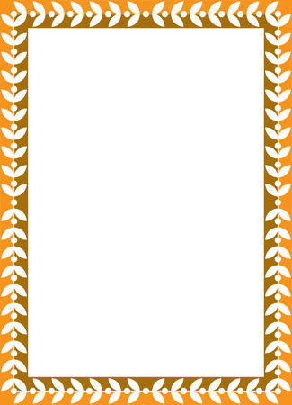 Tiled vector frame in plant leaves, Colored Vector