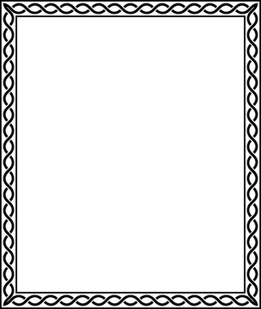 간단한 라인 벡터 프레임, 흑백 일러스트