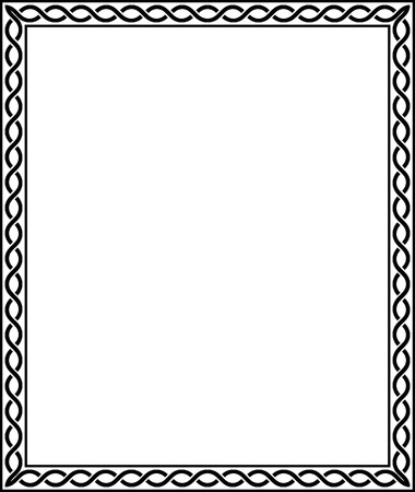 Simple line vector frame, Black and White Illustration