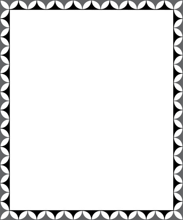 Simple tiling thin frame, Black and White Vector