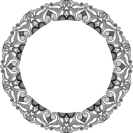 Circle ornate vector frame, Grayscale Vector