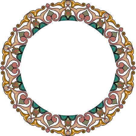Circle ornate vector frame, Colored Vector