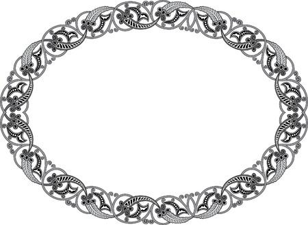 antique frames: Adornado vector marco oval, en escala de grises Vectores