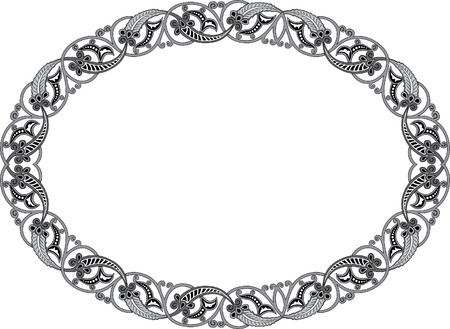 Garnished oval vector frame, Grayscale Vector