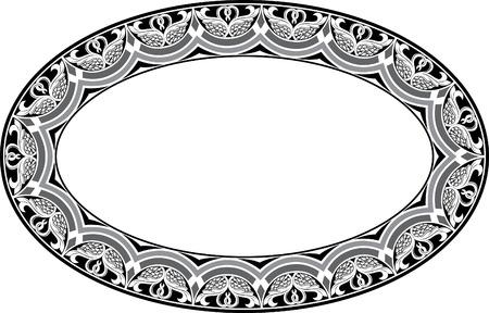 garnished: Garnished oval vector frame, Grayscale Illustration