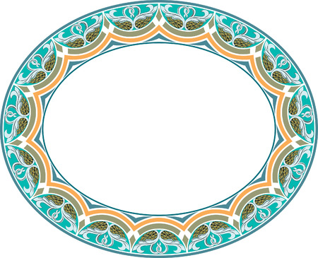 Garnished oval vector frame, Colored Vector