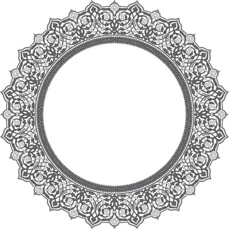 Detailed ornate circle frame, Grayscale Illustration