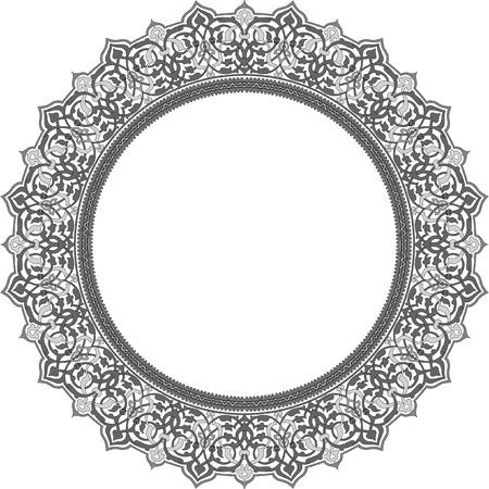 antique frames: Marco detallado c�rculo adornado, escala de grises Vectores