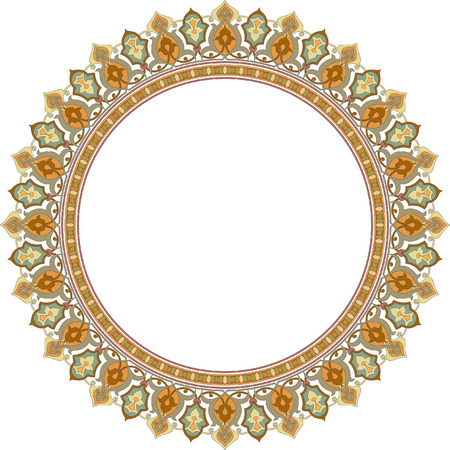 Detailed ornate circle frame, Colored Vector