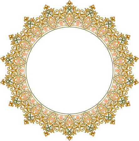 Beautiful ornate circle frame, Colored Vector