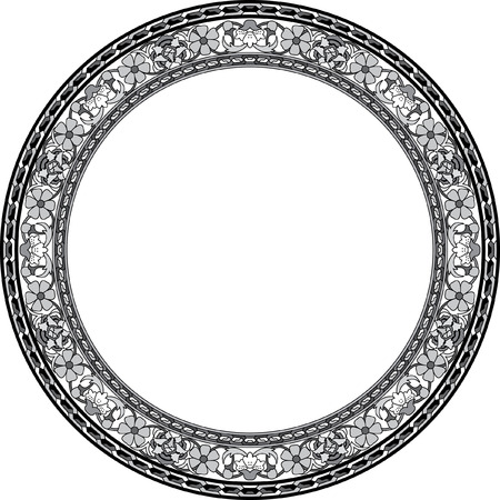 Circle ornate vector frame with flowers, Grayscale Vector