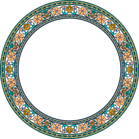 Circle ornate vector frame with flowers, Colored Vector