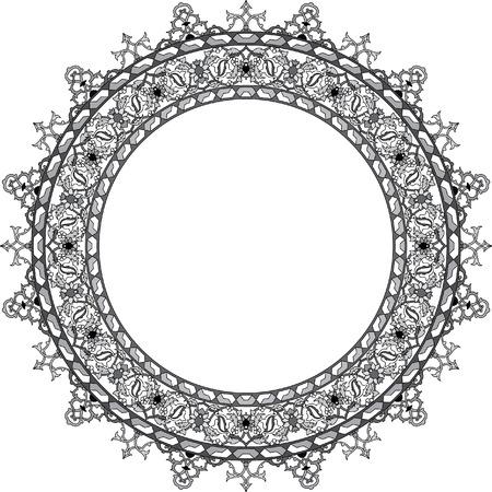 garnished: Garnished circle vector frame, Grayscale Illustration