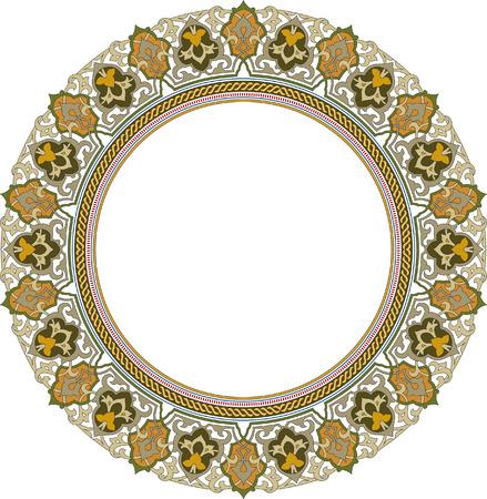 garnished: Garnished circle vector frame, Colored Illustration