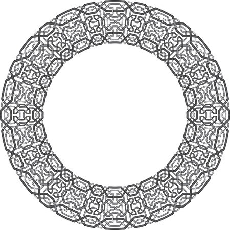 Arabesque circle vector frame, Grayscale Vector