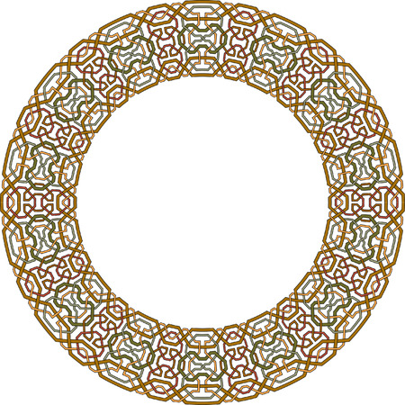 Arabesque circle vector frame, Colored Vector