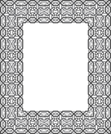 thick: Tiled arabesque vector frame, thick, Grayscale