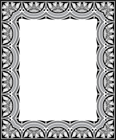 Tiled ornate vector frame, Grayscale Stock Vector - 23504856
