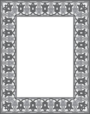 Tiled ornate vector frame, Grayscale
