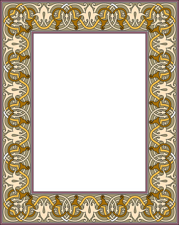 Tiled ornate vector frame, Colored Vector
