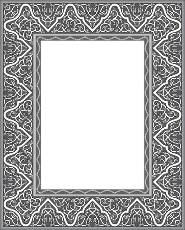 thick: Tiled ornate thick frame, Grayscale