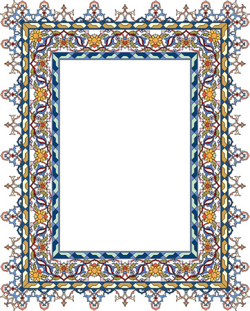 Tiled ornate thick frame, with fllowers, Colored Vector