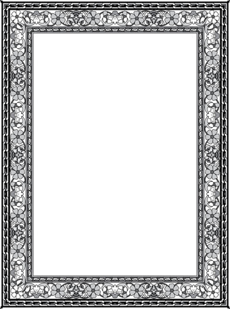 Tiled ornate vector frame, with fllowers, Grayscale Vector