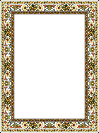 Tiled ornate vector frame, with fllowers, Colored Vector