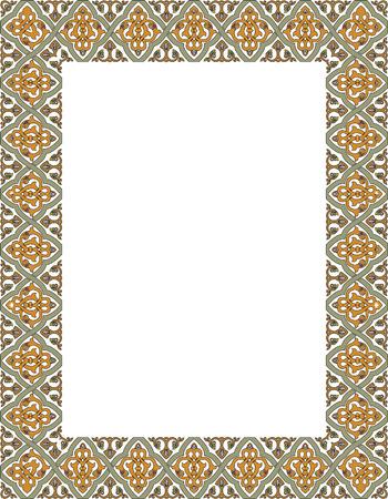 marcos decorados: Baldosa marco grueso adornado, coloreado
