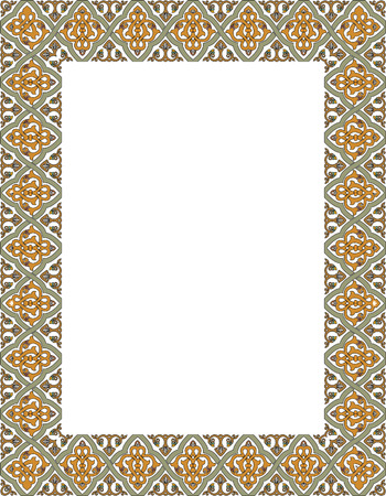 Tiled ornate thick frame, Colored